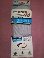 NEW Copper Fit Infused Sport Crew Socks 2 Pair Grey S/M Size M 5-9 W 6-10