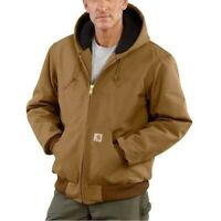 Mens Carhartt Duck Quilted Flannel Lined Active Jacket Coat J140 Brown 2XL Tall