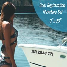 """Boat Registration Number Lettering Decals Vinyl Vessel 3"""" X 20"""" Set (15 Colors)"""