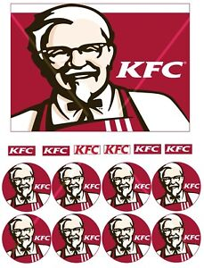 KFC edible cake labels & matching cupcake toppers (ideal for a bucket cake)