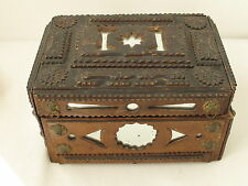 Antique Folk Art Tramp Art Box  with Mirrors and Stars