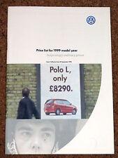 1998-99 VW RANGE Price LIst - Golf Cabrio Estate, Polo, Passat, Sharan - Mint!