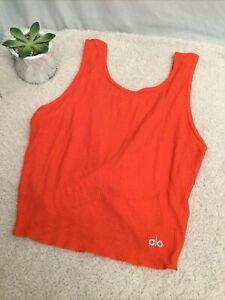 Alo Yoga Swirl Two Way Crop Tank: Size M: Orange (201)