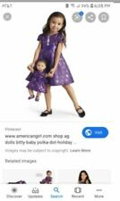 CHILD dress AND American Girl Bitty Baby Purple Polka Dot Holiday Party Dress