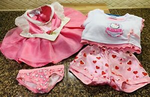 Build A Bear Glamour Fancy Dress, Hello Kitty shirt & panties, heart pants