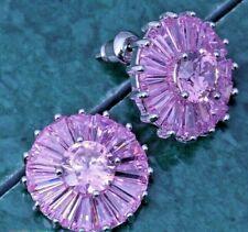 Pink Sapphire Flower Sun Disc Silver Drop Stud Earrings