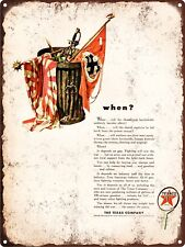 """1943 WWII Texaco Oil Captured Enemy Flags in Trash Metal Sign Repro 9x12"""" 60432"""