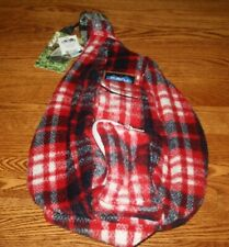 KAVU Plaid Rope Bag Sling Travel Backpack Day Pack AMERICANA Fleece Red 9164-309