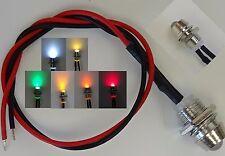LED 6 Farben 3mm Chrom Metall Fassung Schraube 9V - 12V Anschlußfertig C2692