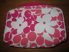 Clinique Cosmetic Makeup Bag Pouch W/ Zipper - Pink/White Flower - Never Used