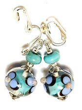 SILVER TURQUOISE PINK CLIP-ON EARRINGS long drop dangle boho chic gypsy retro
