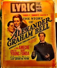 STORY OF ALEXANDER GRAHAM BELL! '39 AMECHE, YOUNG JUMBO WINDOW CARD FILM POSTER!