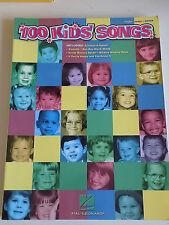 """SPARTITO ACCORDI """"100 KIDS' SONGS"""" CANZONI BAMBINI PIANO VOCE CHITARRA - A6"""