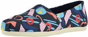 Toms Classic Navy Multi Print Womens Espadrilles Shoes