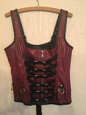 "CUSTOM MADE LEATHER STEEL BONED CORSET GOTH STEAMPUNK FETISH 2XL 36"" WHITBY"