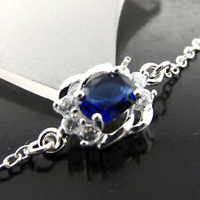 ANKLET BRACELET GENUINE 925 STERLING SILVER SF SAPPHIRE SIMULATED ANTIQUE DESIGN