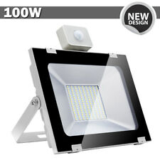 1x 100W LED Flood Light PIR Motion Sensor Cool White Outdoor Spot Garden Lamp