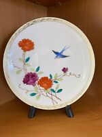 Vintage Hand Painted Nippon Porcelain Plate Blue Bird Poppies & 22K Gold