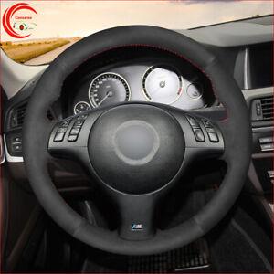 Hand-Stitch Black Suede Car Steering Wheel Cover For BMW M Sport E46 E39 525I