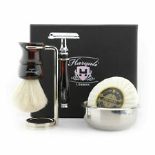Men's Pure White Badger Brush 2-Edge Razor Bowl, Soap Elegant 5Pcs Shaving Kit
