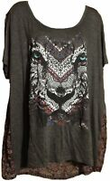 Women's Plus Size Knit Tunic Top - TIGER - DREAM CATCHER - Paisley - 1X 2X 3X