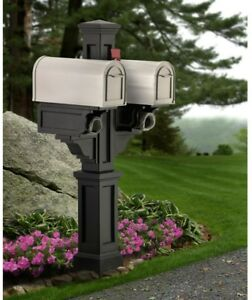 Mailbox Post Double Vinyl Plastic Fade Resistant in Black with Newspaper Holders