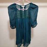 Joie Womens Small Blouse Top Sheer Blouson Sleeve Crochet Turquoise Babydoll