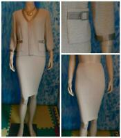 ST. JOHN Collecton Knits Beige Jacket Skirt L 12 10 2pc Suit Silk Trim Pockets
