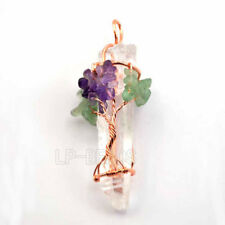 Natural Clear Rock Quartz Healing Crystal Tree Of Life Wire Wrap Pointed Pendant