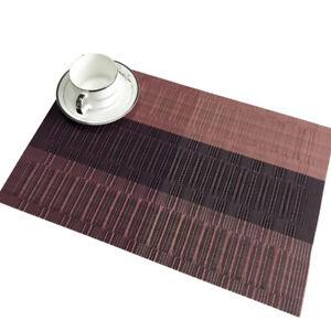 Waterproof Placemats Heat-Resistant PVC Table Mats Woven Vinyl Placemats QK