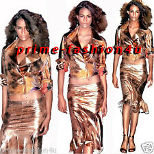 Roberto Cavalli  Gold Beige Distressed Leather Suede Vintage Skirt