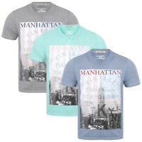 Tokyo Laundry Mens Marl Effect Graphic T-Shirt Manhattan Retro Crew Neck Tee