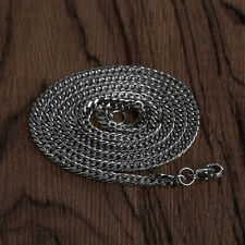 19'' Vintage Mens Women Titanium Stainless Steel Silver Curb Link Chain Necklace