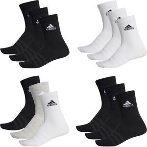Adidas Mens Womens 3 Pairs Pack Socks Cushioned Crew Sock Black White Multi
