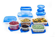 New 34 Pcs Reusable Plastic Food Storage Containers Set with Air Tight Blue Lids