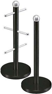 Kitchen Roll Holder Black and 6 Mug Tree Stand Stainless Steel Storage Rack Set