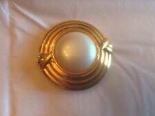 Vintage MONET Gold Tone Round Faux Pearl Pin Retro