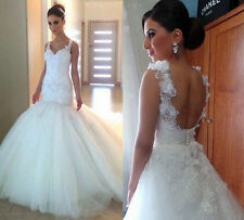White Ivory Wedding Dress Bridal Dress Gown Custom Size 6 8 10 12 14 16 18