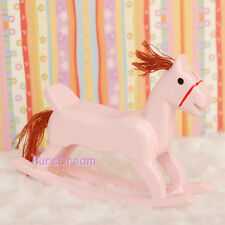 Wholesale 10pcs 1:12 Dollhouse Miniature Toy Wood  Rocking Horse Pink WB0114B