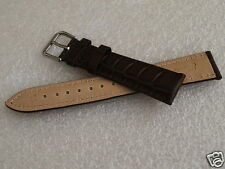 NEW Nice Croco Grain 19MM Deep Brown Genuine Leather Men's Watch Band