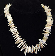 Abalone MOP & Other Shells Pointed Irregular Shape Necklace & Faux Pearl Spacers