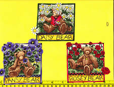 Teddy Bears Fabric Iron Ons Appliques flowers style#1
