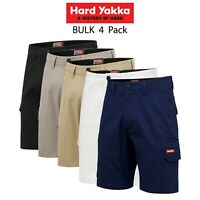 Mens Hard Yakka 3056 Stretch Shorts 4 Pack Cargo Canvas Cotton Tough Work Y05411