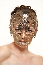 Day of The Dead Silver Skull Venetian Laser Cut Masquerade Mask w/ Clear Stones