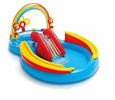 Rainbow Ring Inflatable Play Center Splash Pool Water Slide Spray Toddler Kids