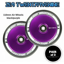 2 x Root Industries 110mm Air Scooter Wheels BLACK / PURPLE