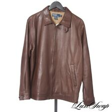 #1 MENSWEAR LNWOT Polo Ralph Lauren Chocolate Brown Nappa Leather Jacket Coat M
