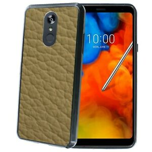 Shockproof Bumper Phone Case for LG Stylo 4,5,V40,G7,Tan Leather Texture Print