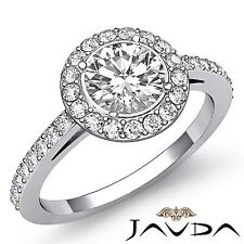 1.95ct Round Diamond Classic Engagement GIA F SI1 14k White Gold Halo Pave Ring