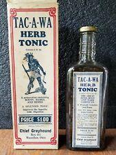 RARE Vintage TAC-A-WA Herb Tonic Bottle & Box, Chief Greyhound, Massillon, Ohio